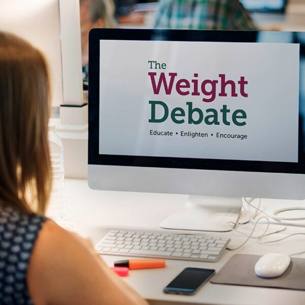 Weight Debate on lap top screen