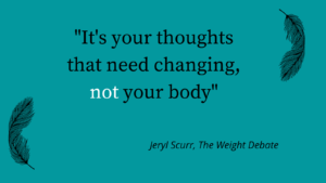 Quotation - it's not your body that needs changing, its your thoughts.